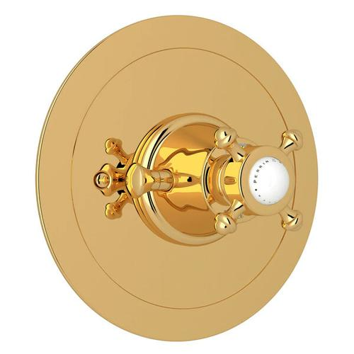 Georgian Era Round Thermostatic Trim Plate without Volume Control - English Gold with Cross Handle