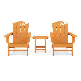 Polywood Furnishings - Wave 3-Piece Adirondack Set with The Ocean Chair in Vintage Tangerine