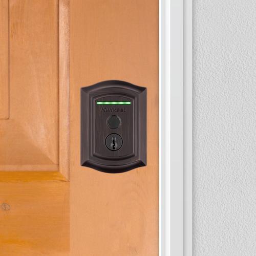 Kwikset - Halo Touch Traditional Fingerprint Wi-Fi Enabled Smart Lock - Venetian Bronze