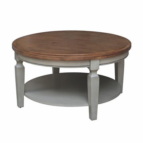 John Thomas Furniture - Round Coffee Table in Hickory & Stone