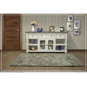 """See Details - 70"""" TV Stand w/ 3 Drawer & 2 Glass Doors Stone"""