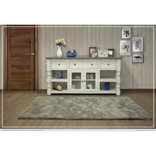 "70"" TV Stand w/ 3 Drawer & 2 Glass Doors Stone"