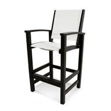 View Product - Coastal Bar Chair in Black / White Sling