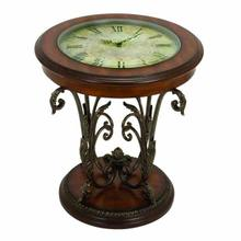 "MTL/WD TABLE W/CLOCK 24""H, 22""W"