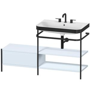 Furniture Washbasin C-bonded With Metal Console Floorstanding, Light Blue Satin Matte (lacquer)