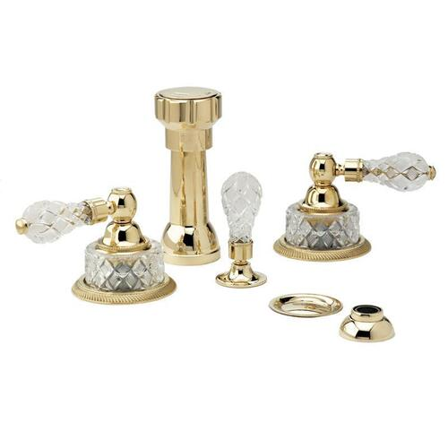 REGENT CUT CRYSTAL Four Hole Bidet Set K4181 - Pewter