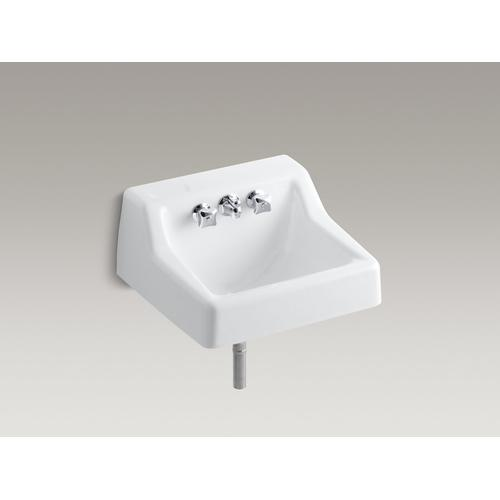 """White Wall-mounted Commercial Bathroom Sink With Factory-installed Faucet, 19"""" X 17"""""""