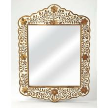 See Details - This magnificent wall mirror features sophisticated artistry and consummate craftsmanship. The botanic patterns covering the piece are created from Teak Wood inlays cut and individually applied in a sea of white magestic hues by the hands of a skillful artisan. No two mirrors are ever exactly alike, ensuring this piece will hang as a bonafide original.