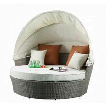 ACME Salena Patio Canopy Sofa & Ottoman - 45025 - Beige Fabric & Gray Wicker