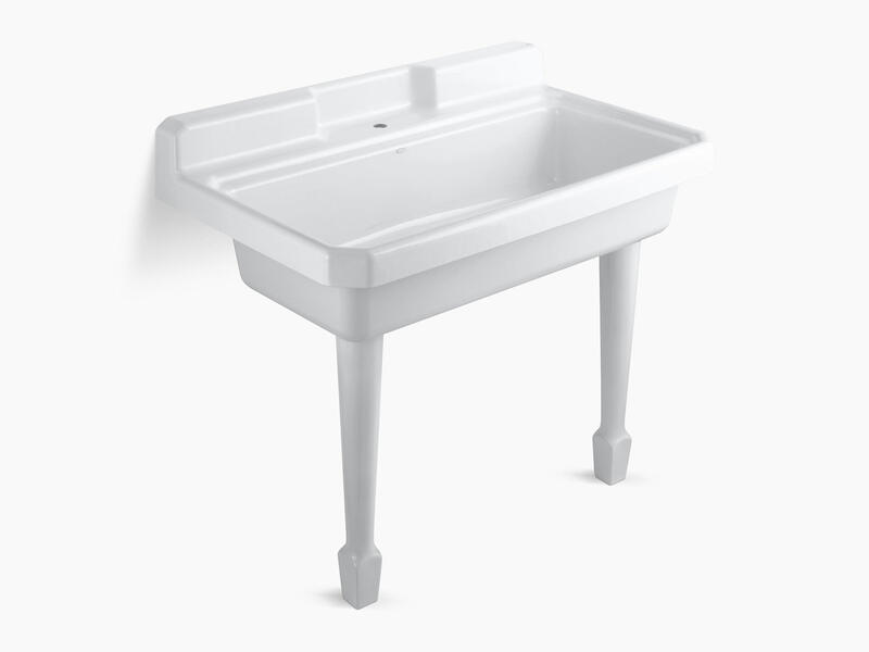Kohler K660710 Studio41 White 48 X 28 X 41 11 16 Top Mount Or Wall Mount Utility Sink With Single Faucet Hole On Center Deck