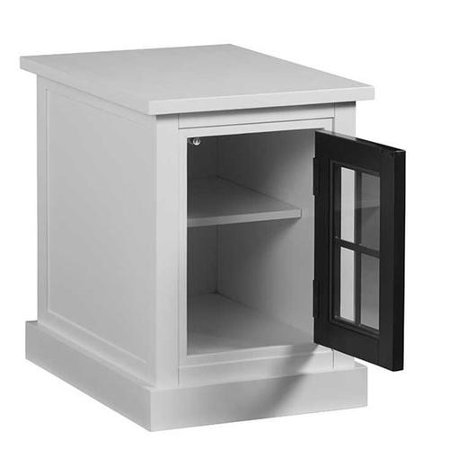 Chairside Table - Snow/Black Finish