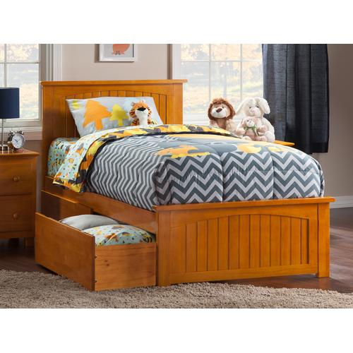 Nantucket Twin Bed with Matching Foot Board with 2 Urban Bed Drawers in Caramel Latte
