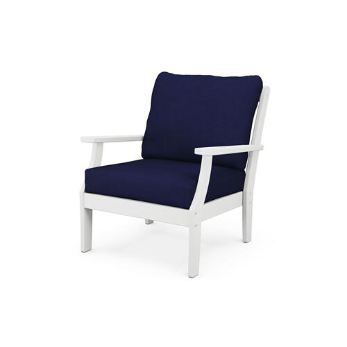White & Navy Braxton Deep Seating Chair