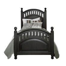 Kids Twin Poster Bed Headboard in Charcoal Brown
