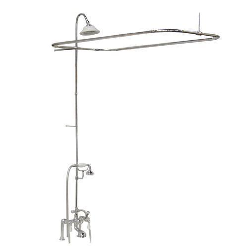 Tub/Shower Converto Unit - Elephant Spout, Shower Ring, Riser, Showerhead - Lever / Polished Chrome