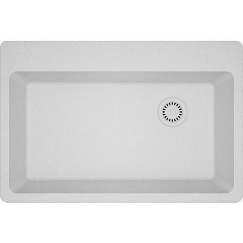 "Elkay Quartz Classic 33"" x 22"" x 9-1/2"", Single Bowl Drop-in Sink, White"