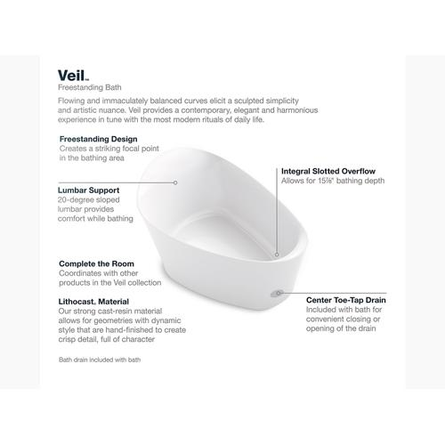 "White 66"" X 36"" Freestanding Bath With Center Toe-tap Drain"