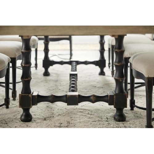 Hooker Furniture - Ciao Bella 84in Trestle Table w/ 2-18in Leaves-Flaky White/Black
