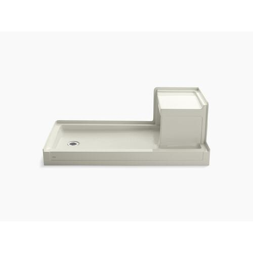 "Biscuit 60"" X 32"" Single Threshold Left-hand Drain Shower Base With Integral Right-hand Seat"