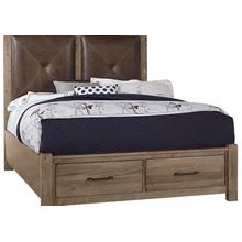 Leather Bed with Footboard Storage