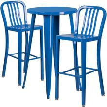 24'' Round Blue Metal Indoor-Outdoor Bar Table Set with 2 Vertical Slat Back Stools