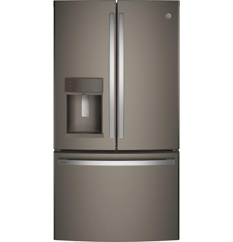 Pye22kmkes In Fingerprint Resistant Slate By Ge Appliances In Labelle Fl Ge Profile Series Energy Star 22 1 Cu Ft Counter Depth French Door Refrigerator With Hands Free Autofill