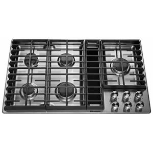 "KitchenAid36"" 5 Burner Gas Downdraft Cooktop - Stainless Steel"