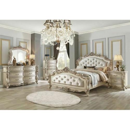 ACME Gorsedd Queen Bed - 27440Q - Fabric & Antique White