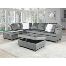 See Details - Leanne Reversible Sectional with Storage Ottoman, Gray Velvet