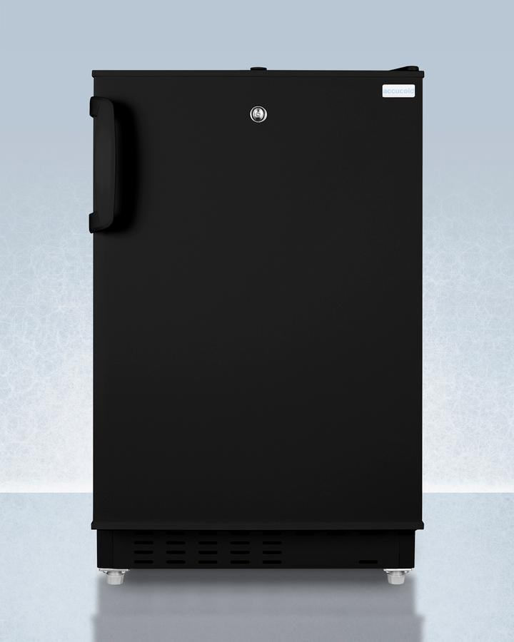 SummitBuilt-In Undercounter, Ada Compliant Refrigerator-Freezer In Black, Designed For General Purpose Storage, Manual Defrost With Glass Shelves, Front Lock, And Door Storage