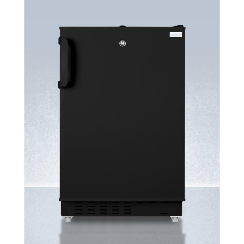 Built-in Undercounter, ADA Compliant Refrigerator-freezer In Black, Designed for General Purpose Storage, Manual Defrost With Glass Shelves, Front Lock, and Door Storage