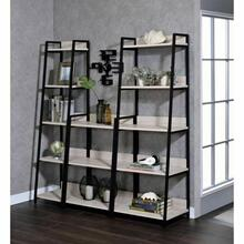 "ACME Wendral Bookshelf (5-Tier, 23""L) - 92674 - Industrial, Contemporary - Metal Tube, Paper Veneer (Laminate), MDF - Natural and Black"