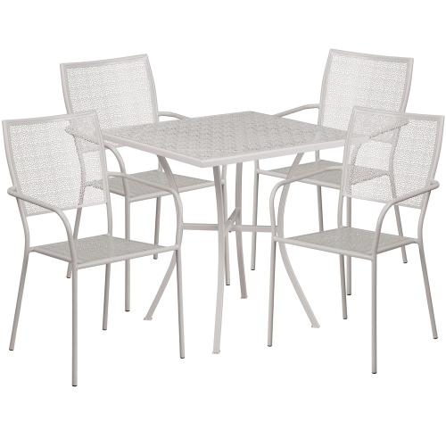 28'' Square Light Gray Indoor-Outdoor Steel Patio Table Set with 4 Square Back Chairs