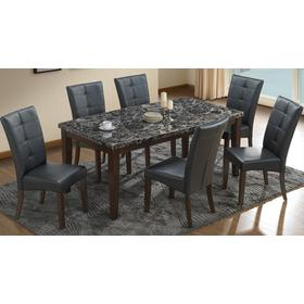 """Black Laminate Top """"Boat-Shape"""" Table and Black Uph Chairs"""
