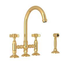 See Details - San Julio Deck Mount C-Spout 3 Leg Bridge Kitchen Faucet with Sidespray - Italian Brass with Five Spoke Cross Handle