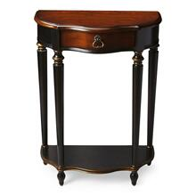 "This charming console was designed for small spaces "" perfectly suited for a hall, entryway or stairway landing. Hand painted in black and crafted from poplar hardwood solids and wood products, it features a rich, contrasting, hand rubbed cherry veneer top and drawer front with a lightly distressed finish. Includes one drawer with aged brass hardware and a lower display shelf."