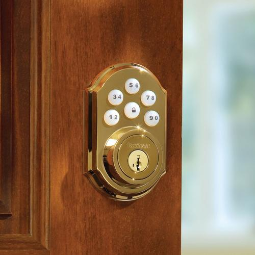 Kwikset - 910 SmartCode Traditional Electronic Deadbolt with Z-Wave Technology - Lifetime Polished Brass