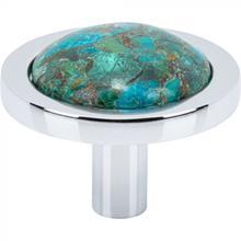 View Product - FireSky Mohave Blue Knob 1 9/16 Inch Polished Chrome Base Polished Chrome