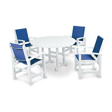White & Royal Blue Coastal 5-Piece Dining Set