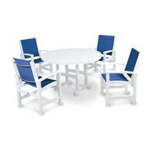 White & Royal Blue Coastal 5-Piece Dining Set