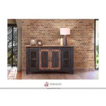 """60"""" Pueblo TV Stand w/ 4 doors & Shelves Black"""