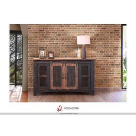 "See Details - 60"" Pueblo TV Stand w/ 4 doors & Shelves Black"