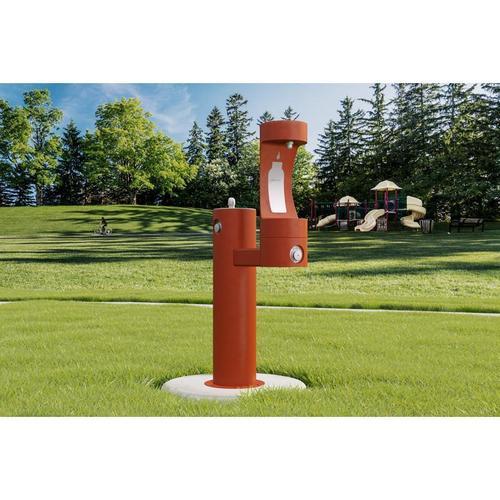 Elkay - Elkay Outdoor EZH2O Bottle Filling Station Bi-Level Pedestal, Non-Filtered Non-Refrigerated Terracotta