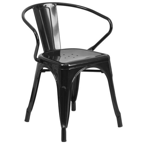 Alamont Furniture - Black Metal Indoor-Outdoor Chair with Arms