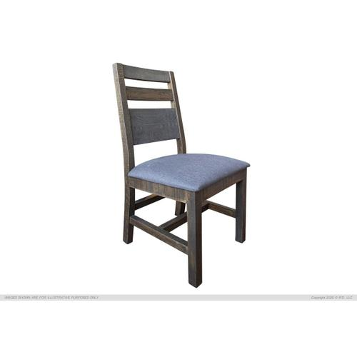 Solid Wood Chair w/Fabric seat, Gray Finish