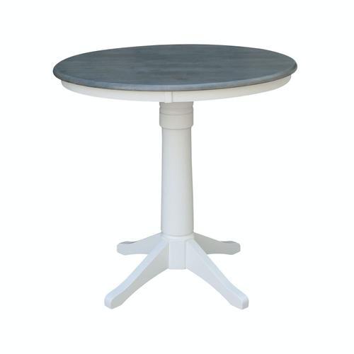 """John Thomas Furniture - 36"""" Pedestal Table in Heather Gray / White"""