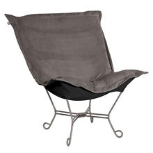 Scroll Puff Chair Bella Pewter Titanium Frame