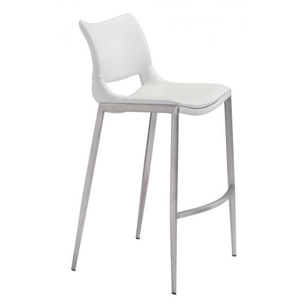 Ace Bar Chair White & Silver
