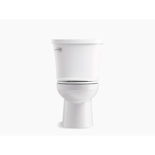 White Two-piece Round-front 1.28 Gpf Toilet With Class Five Flushing Technology, Left-hand Trip Lever and Antimicrobial Finish, Seat Not Included