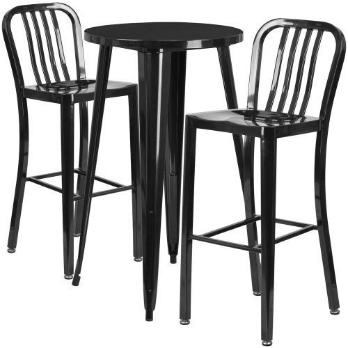 24'' Round Black Metal Indoor-Outdoor Bar Table Set with 2 Vertical Slat Back Stools